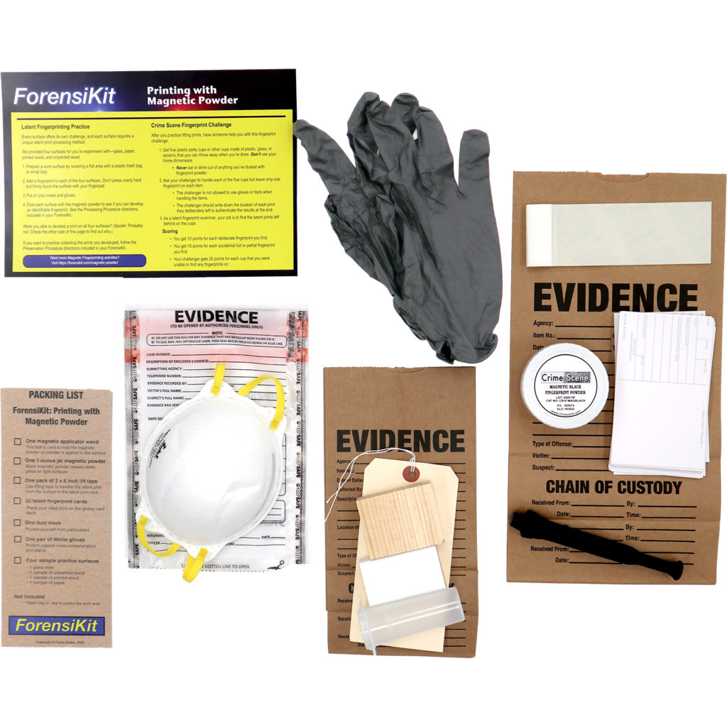 Contents of the ForensiKit: Printing with Magnetic Powder box