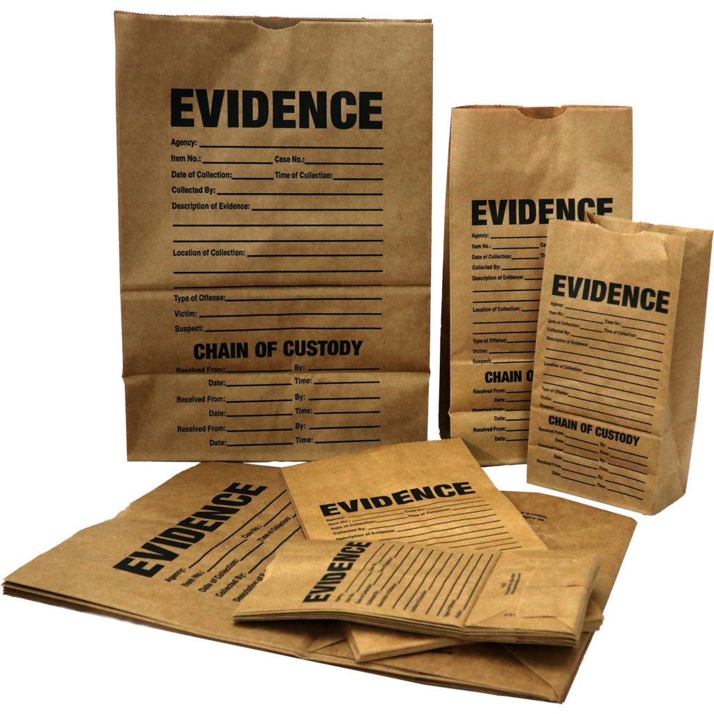 Assorted paper evidence bags
