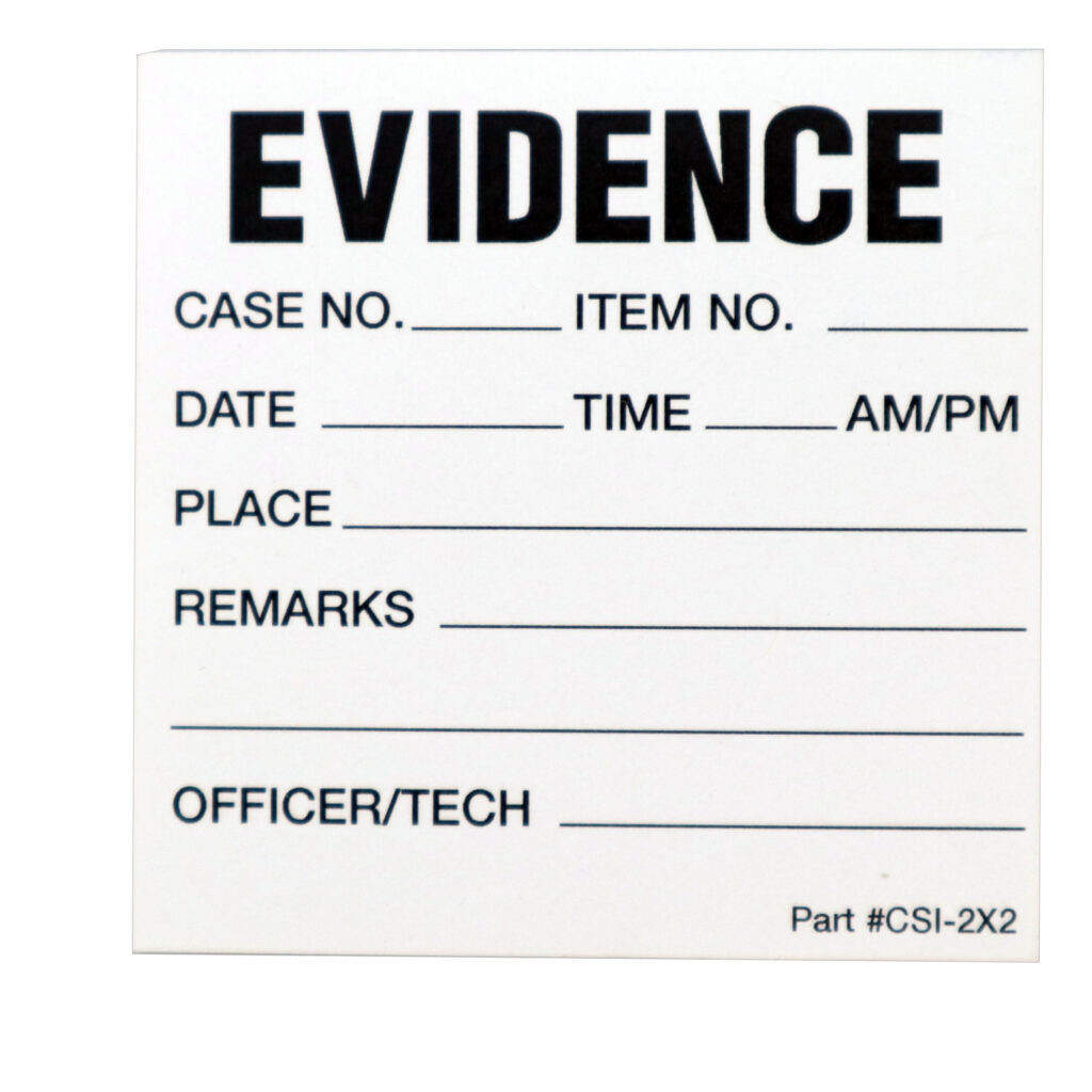 Small evidence label with fields to complete for identification