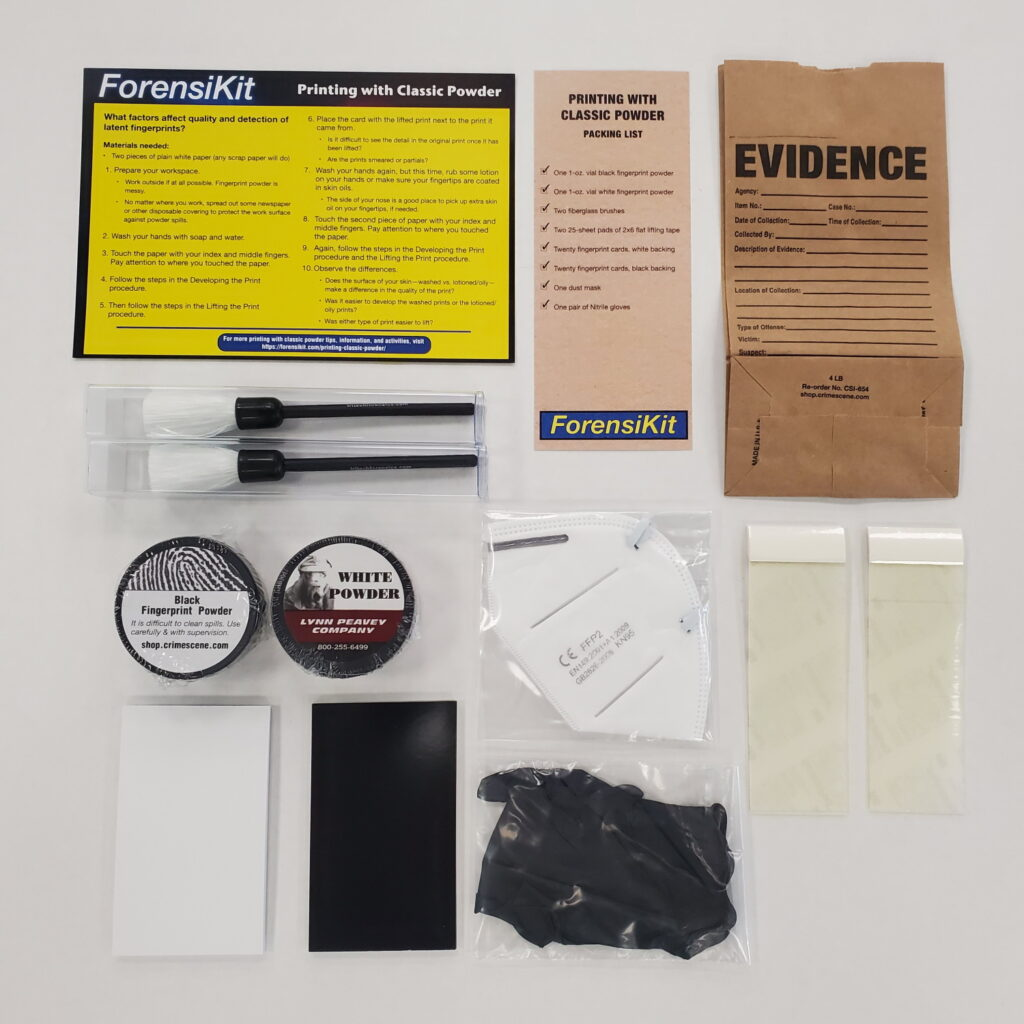 Contents of the ForensiKit by Crime Scene - Printing with Classic Powder box