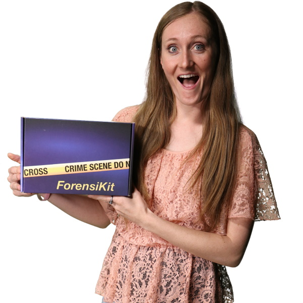 Excited woman holding a ForensiKit box