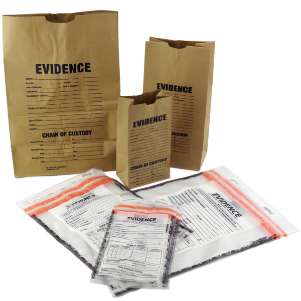 Array of paper and plastic evidence bags
