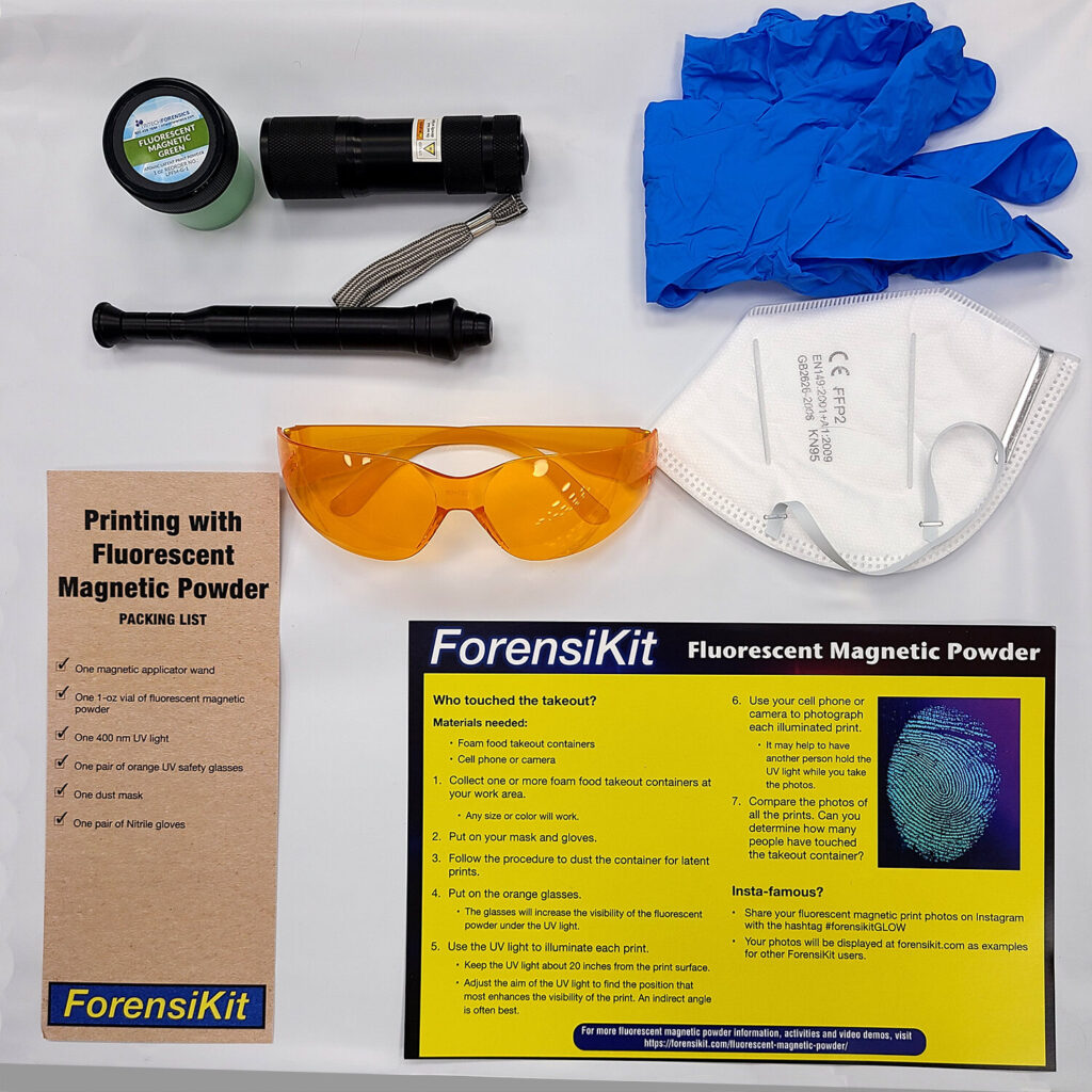 Contents of the Printing with Fluorescent Magnetic Powder ForensiKit by Crime Scene